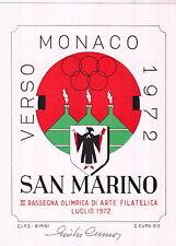 FOGLIETTO VERSO MONACO '72 III RASSEGNA ARTE SAN MARINO FIRMA AUTORE GIULIO CUMO