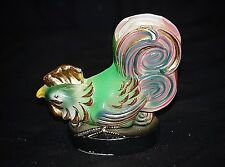 Old Vintage Hen Chicken Kitchen Wall Pocket Planter Green & Pink w Gold Trim MCM