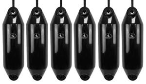 6 x HURRICANE Boat Fenders: Black PM02 - FREE ROPE + INFLATED