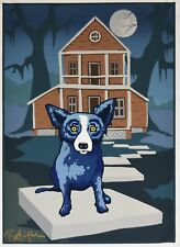 George Rodrigue Blue Dog This Old House on Canvas Silkscreen Print Signed Rare