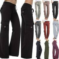 Women Loose Yoga Cargo Pants Wide Leg Palazzo Sport Pockets Leggings Trousers XL