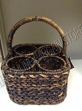 Pottery Barn Havana Woven Seagrass Wine Bottle Carrier Holder Picnic Basket