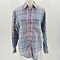 Lauren Ralph Lauren Purple & Blue Linen Plaid Shirt Women's 8