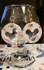 Layed Faux Leather Earrings Adorable Mickey Mouse Double