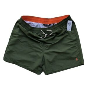 Polo Ralph Lauren Swimwear Traveler Solid Olive Green Swim Trunks Men Sz 1XB NEW