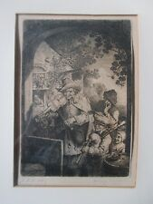 1757 Etching Engraving, De Hecy / Hucy WANDERING MUSICIANS Very Fine Impression