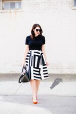 NWT Kate Spade Striped A Line Midi Skirt Black White Colorblock 2 XS