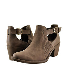 Womens Shoes Qupid Tobin 103 Buckle Strap Caged Ankle Bootie Taupe Distress*New*