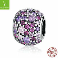 Authentic Genuine 925 Sterling Solid Colorful PAVÉ BALL CHARM Beads DIY Original