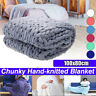 Lareg Warm Handmade Sofa Chunky Knitted Blanket Wool Thick Line Yarn Throw