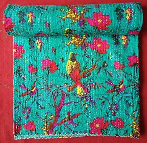 Sea Green Bird Print Queen/Twin Cotton Kantha Quilt Throw Blanket Bedspread