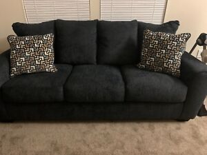 Ashley furniture dark gray velour fabric sofa w/ matching pillows