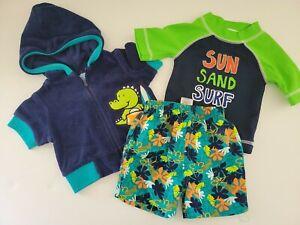 CARTERS GYMBOREE Boys 3 6 Mos Swim Outfit Trunks Rash Guard Cover Up Jacket...
