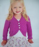 Baby Girls Picot edge bolero KNITTING PATTERN DK 16 -26in long sleeve cardigan