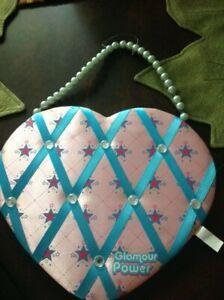 Heart Shape Bulletin Board Photo Memo Board Pink w/ Ribbon 12 inches tall