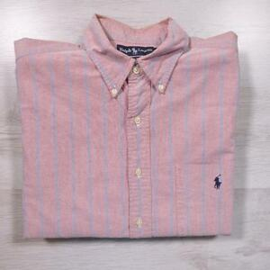 "Mens RALPH LAUREN ""Big Shirt"" Pink Striped Designer Cotton Shirt Large"