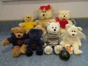 LOT OF 7 ASSORTED PLUSH AND BEANIE TEDDY BEARS EXCELLENT CONDITION