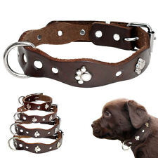 Luxury Paw Studded Pet Puppy Collars for Small Dogs Leather Shih Tzu Yorkshire