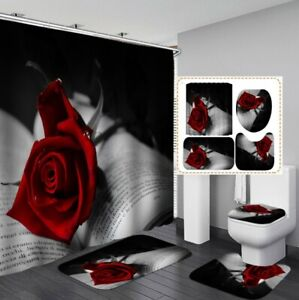 3D Love Letter Curtain Floor Mat Toilet Lid Cover Bathroom Rugs Mat Set