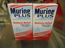 LOT 2-MURINE PLUS-EYE DROPS-REDNESS RELIEF-DRY EYES 0.5 FAST ACTING -LUBRICANT