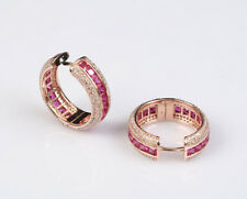 INVISIBLE SETTING RUBY ROSE GOLD COLORED OVER STERLING SILVER EARRINGS #70887