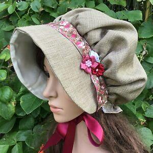 Ladies VICTORIAN REGENCY BONNET Tweedy brown mauve Dickens Austen Period drama
