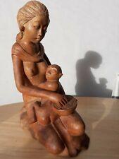 Vintage Mother And Child Wood Figure Bali, Indonasia
