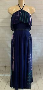 New Three Floors Blue Long Maxi Gown Dress Halter Neck Size 8 -14