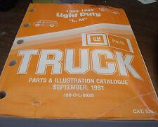 1990 91 92 GM/Chev Light Duty Truck Parts/Illustrations book 53MC