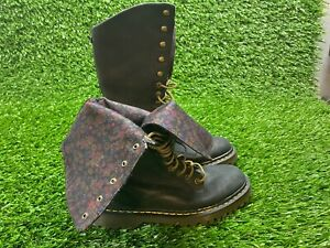 DR. MARTENS ALEINA FOLD DOWN FLORAL TALL BOOTS! WOMENS SIZE US 9! TRIUMPH RARE!