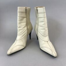 Faith Off White Ankle Zip Up Sexy Heeled Pointed Boho Booties Boots US8 UK6 EU39
