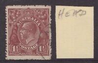 """Australia KGV 1½d annotated """"HEAD"""" (spot behind ear?) s/crown w/m"""