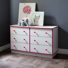 6 Drawer White Pink Dresser Wood Contemporary Kids Unisex Bedroom Furniture Home