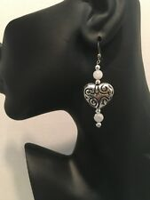 Earrings with Moonstone Beads Silver Etched Heart Dangle