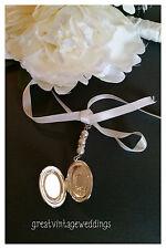 Pretty Bridal Bouquet Photo Locket Memory Charm Wedding Handmade Pendant