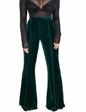 Green Fitted High Waist Stretch Velvet Wide Leg Pants in Small and Large