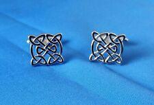 Silver Coloured Square Celtic design Cufflinks in Gift Box BNIB AJ012