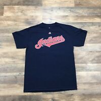 CLEVELAND INDIANS Short Sleeve T Shirt Men's Large Baseball MLB Spell Out Logo