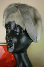 Mütze Fellmütze Pelzmütze Nerz 70s Mink TRUE VINTAGE fur Hat Vison Barett grau