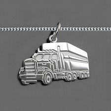 Männer LKW Truck Sattelzug Sattelschlepper Anhänger mit Kette Echt Silber 925