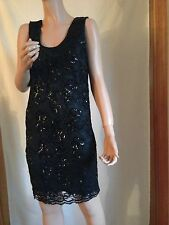 TINA HAGEN BLACK SLEEVELSS LACE SEQUINS SHEATH EVENING DRESS TOP SKIRT SMALL NEW