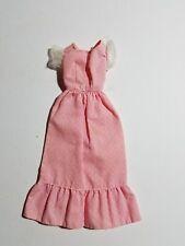 1970 Barbie Dress Long SWEET 16  - Pink Swiss Dot / White Chiffon Puffed Sleeves
