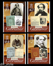 Charles Dickens 200th anniversary set of 4 stamps + souv. sheet Gibraltar 2012