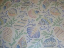 One Yard P Kaufmann Clear Vinyl coated Upholstery Fabric Sea Shells Pastel Bty
