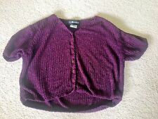 Sag Harbor Shrug Size XL Burgundy Short Sleeves Button Down Cute EUC