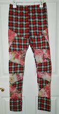 TOV Red Plaid FLORAL NET Panel Leggings Pants* 38 S Small