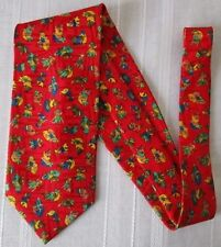 ***ERVE JACQUES CRAVATTA TIE in SETA 100% Fantasia su fondo Rosso Cod. AS