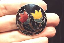 little red + yellow Tulip flowers round black cloisonne gold trimmed pin brooch