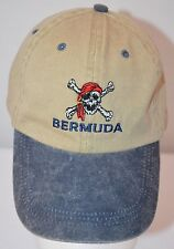 Bermuda Bahamas Skull Baseball Hat Cap Beige Black Adjustable Strap Ladies S / M