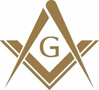 MASONS SQUARE DECAL / STICKER - SET OF 2 - GOLD